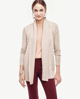 Ann Taylor Ribbed Trim Open Cardigan