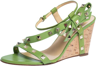Valentino Green Leather Rockstud Ankle Strap Bow Wedge Sandals Size 37