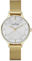 Skagen Ladies Anita Goldtone Crystal Mesh Watch
