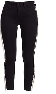 L'Agence Women's Margot High-Rise Fringe Chain Ankle Skinny Jeans