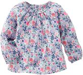 Osh Kosh Toddler Girl Shirred Trim Long Sleeve Floral Woven Top