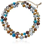 "lonna & lilly Gold-Tone and Blue Multi-Double Row Beaded Strand Necklace, 16.5"" 3"" Extender"