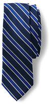 Lands' End Men's Silk Texture Herringbone Stripe Necktie-Navy/Yellow Texture Dot