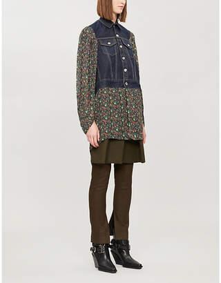 Junya Watanabe Floral-print denim and rayon jacket