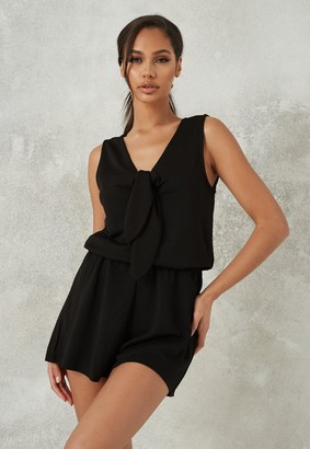 Missguided Black Sleeveless Tie Front Playsuit