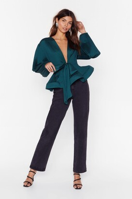 Nasty Gal Womens Pleat Don't Call Plunging Tie Blouse - Teal