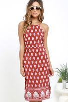 LuLu*s Respeito Rust Red Print Midi Dress