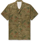 Officine Generale Dario Camp-collar Printed Cotton Shirt - Army green