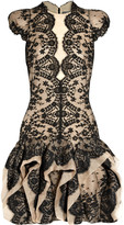 Alexander McQueen Lace-covered organza dress