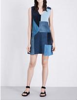 MiH Jeans Marten patchwork suede and denim dress