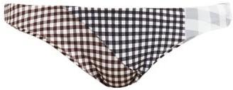 Marysia Swim Suffolk Patchwork Gingham Bikini Briefs - Black White