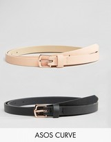 Asos 2 Pack Rose Gold Buckle Waist And Hip Belts