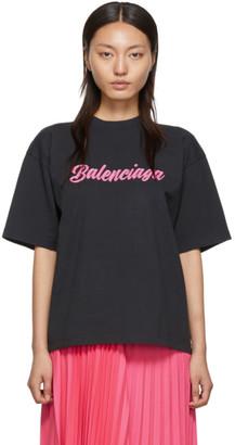 Balenciaga Black and Pink Glossy Back Pulled T-Shirt