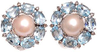 Arthur Marder Fine Jewelry Silver 0.15 Ct. Tw. Diamond, Blue Topaz, & 12Mm Pearl Earrings