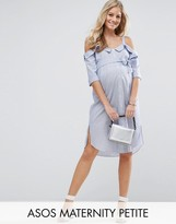 Asos Petite Cold Shoulder Shirt Dress With Foldover Detail