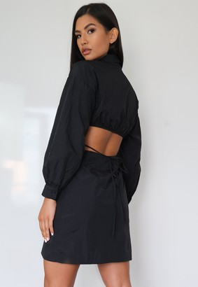 Missguided Black Cut Out Tie Back Shirt Dress
