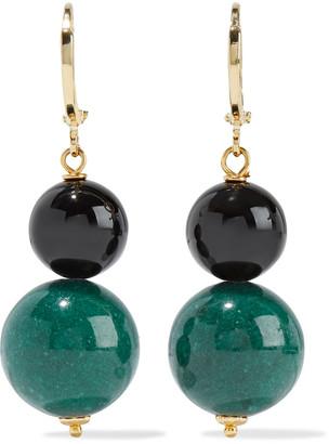 Iris & Ink Hydrangeas Gold-plated, Onyx And Jade Earrings