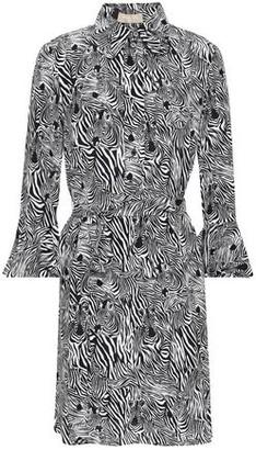 Michael Kors Zebra-print Silk Crepe De Chine Mini Shirt Dress