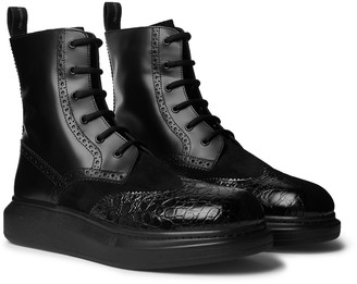 Alexander McQueen Exaggerated-Sole Suede And Patent Croc-Effect Leather Boots