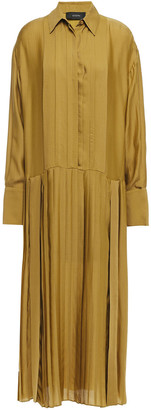 Joseph Pleated Silk-blend Seersucker Midi Shirt Dress