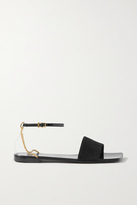 Giuseppe Zanotti Casablanca Chain-embellished Patent-leather And Suede Sandals - Black