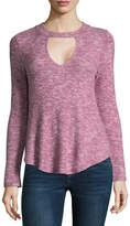 Self Esteem Long Sleeve Mock Neck Knit Blouse-Juniors