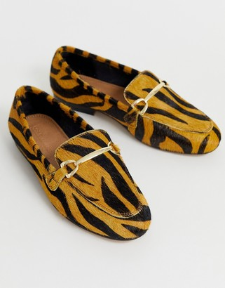 Asos Design DESIGN Moment leather mule loafers in tiger-Multi