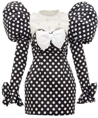 Richard Quinn Puff-shoulder Crystal-trim Polka Dot-print Dress - Womens - Black White