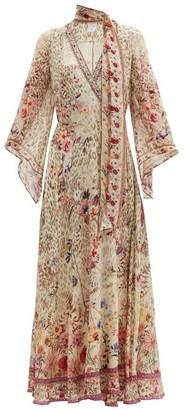Camilla Drifting Dreamer Floral-print Silk Wrap Dress - Cream Print