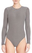 Fleur Du Mal One-Piece Striped Long-Sleeve Swimsuit