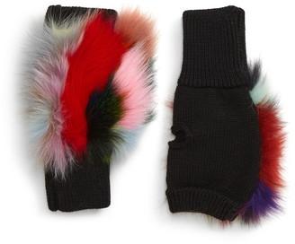 Jocelyn Insomniac Knit & Genuine Fox Fur Open Finger Mittens