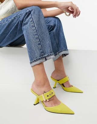 ASOS DESIGN Saga buckle feature mid heeled mules in lime