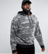 Asos PLUS Oversized Hoodie In Washed Camo
