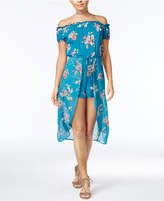 Be Bop Juniors' Floral-Print Overlay Off-The-Shoulder Romper