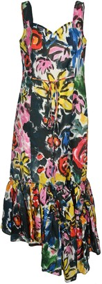 Marni Floral Print Ruffle Dress