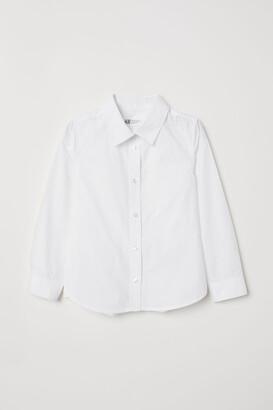 H&M Long-sleeved Shirt - White