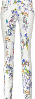 Just Cavalli Low-rise corded lace-trimmed floral-print skinny jeans