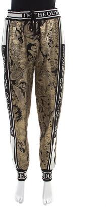 Dolce & Gabbana Gold Floral Brocade Knit Trim Jogger Pants S