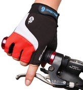 WOLFBIKE Non-Slip Gel Pad Gloves Cycling Riding Gloves,Red,L(8-9cm))