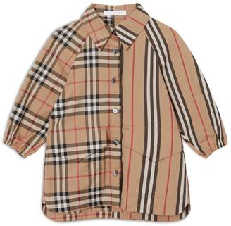 Burberry Kids Vintage Check and Icon Stripe Cotton Shirt Dress