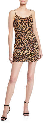 Alice + Olivia Harmony Leopard Cowl-Neck Mini Slip Dress