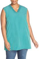 Sejour Ribbed V-Neck Sleeveless Tunic (Plus Size)