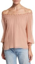 Elizabeth and James Michela Off-the-Shoulder Textured Silk Georgette Blouse, Blush