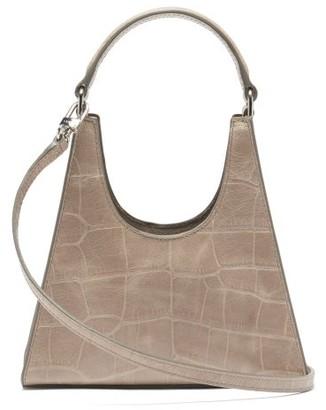 STAUD Rey Mini Crocodile-effect Leather Handbag - Grey