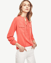 Ann Taylor Petite Crepe Lace Up Tunic