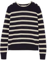 Vanessa Bruno Izara Striped Waffle-knit Wool And Cashmere-blend Sweater - Midnight blue