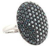 Rarities Pave Blue Diamond Sterling Silver Oval Ring Size 8.5 New $1400