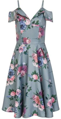 Chi Chi Floral Print Cold Shoulder Midi Dress