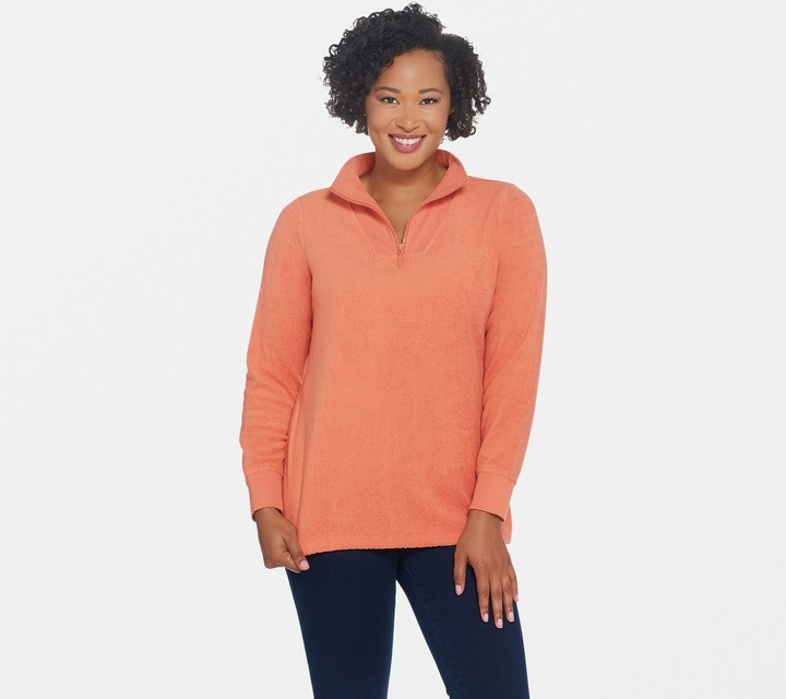 Active Half Zip Sherpa Pullover with Rib Trim