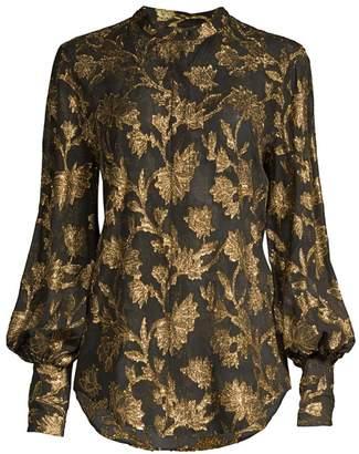 Equipment Boleyn Metallic Floral Jacquard Blouse